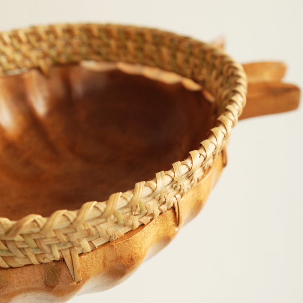 Wooden Pineapple Bowl with Rattan Accents