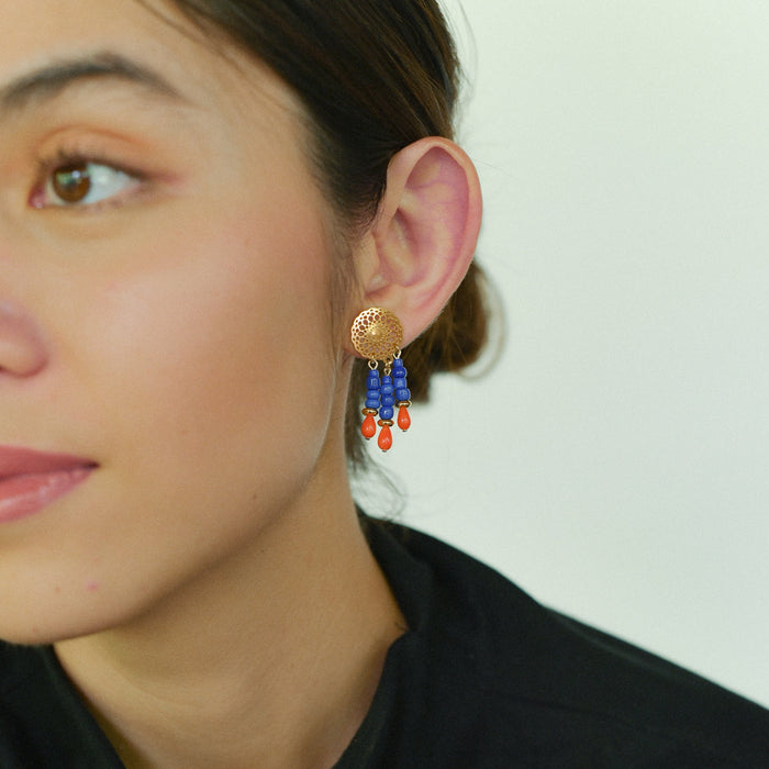 Lilo Earrings in Cobalt and Coral