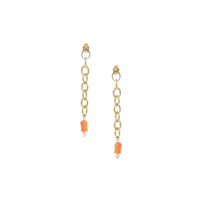 Tanya Earrings in Coral