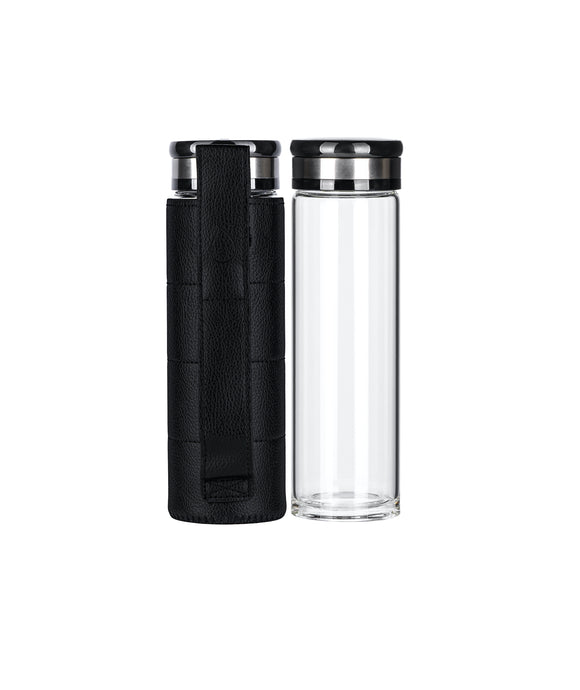 17 oz. Borosilicate Glass Water Bottle w/ Leather Carrying Sleeve