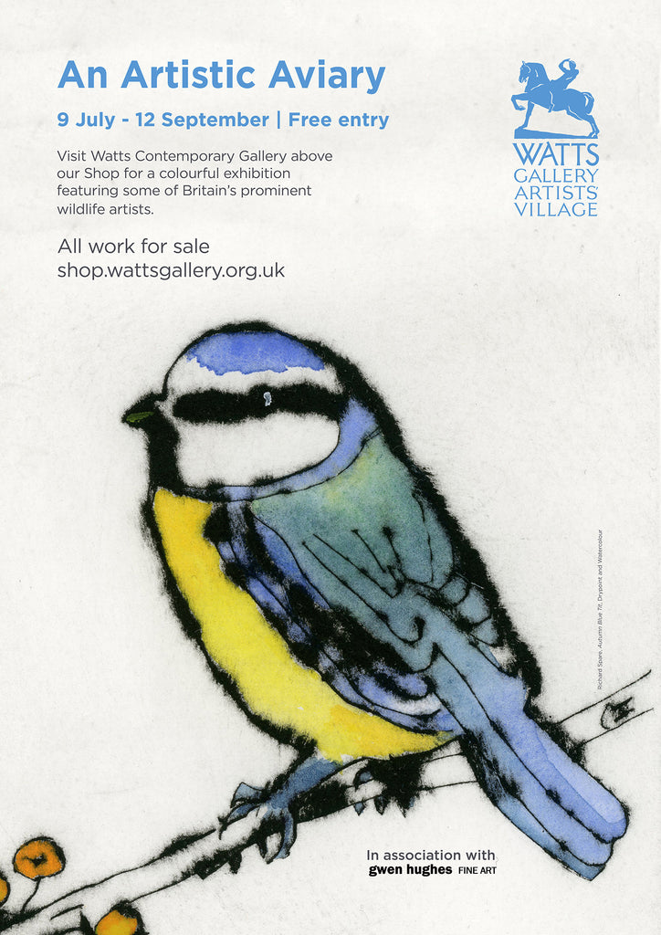 The A2 exhibition poster for 'An Artistic Aviary' at the Watts Contemporary Gallery, featuring Richard Spare's Autumn Blue Tit