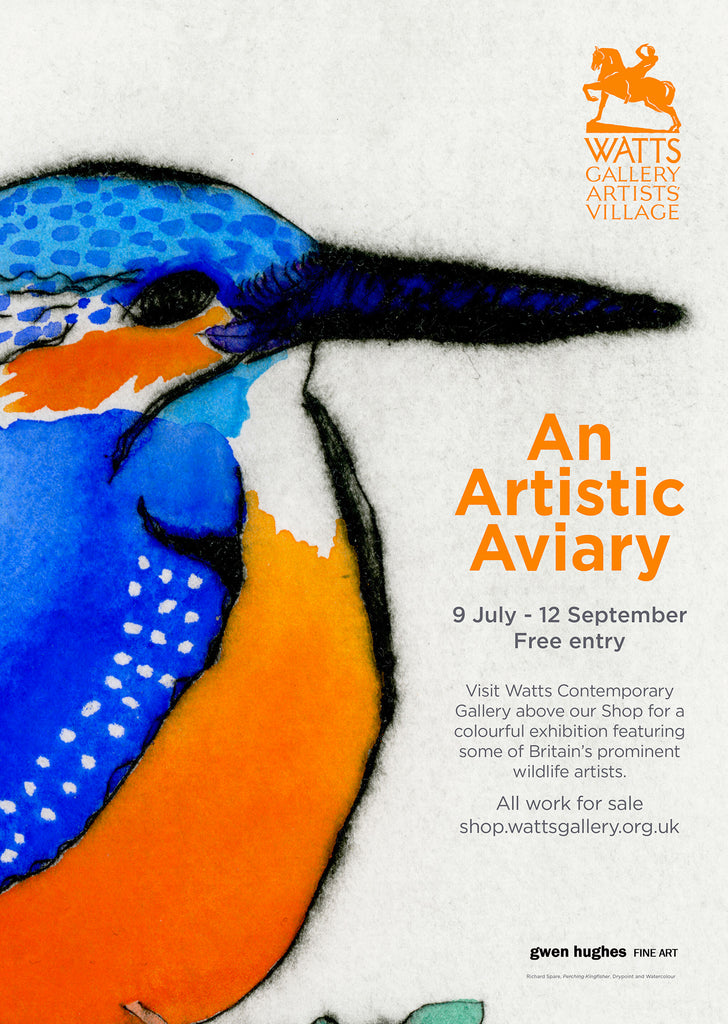 Detail of the The A4 exhibition poster for 'An Artistic Aviary' at the Watts Contemporary Gallery, featuring Richard Spare's Perching Kingfisher