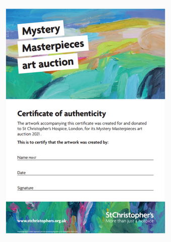 Certificate of Authenticity for each artwork at St Christopher's charity auction