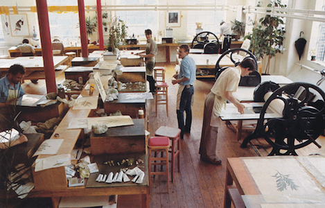 Richard Spare (right) printing Banks' Florilegium at the Egerton-Williams studio