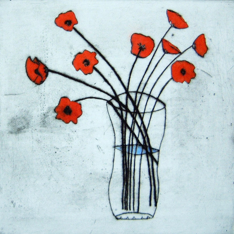 Poppies - Limited Edition drypoint and watercolour fine art print by artist Richard Spare