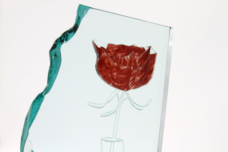 Detail of the front of glass sculpture 'Rose' by artist Richard Spare