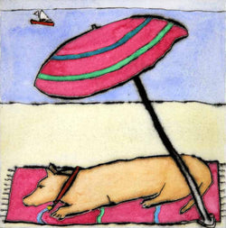 Afternoon Nap - Limited Edition drypoint and watercolour fine art print by artist Richard Spare