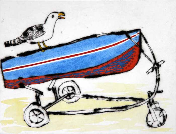 Ahoy! - Limited Edition drypoint and watercolour fine art print by artist Richard Spare
