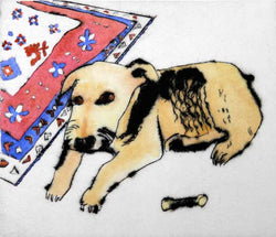 Airedale Dollie - Limited Edition drypoint and watercolour fine art print by artist Richard Spare