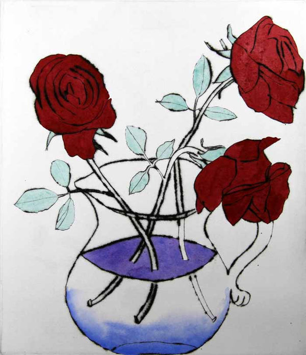 Alizarin Roses - Limited Edition drypoint and watercolour fine art print by artist Richard Spare