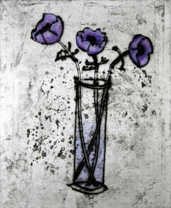 Anemones - Limited Edition drypoint and watercolour fine art print by artist Richard Spare