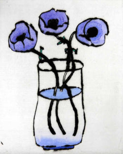 Anemones 2009 - Limited Edition drypoint and watercolour fine art print by artist Richard Spare