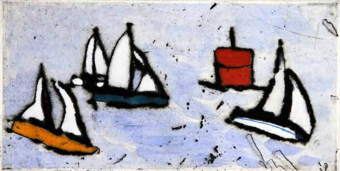 Around the Buoy - Limited Edition drypoint and watercolour fine art print by artist Richard Spare