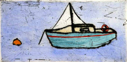 At Anchor - Limited Edition drypoint and watercolour fine art print by artist Richard Spare