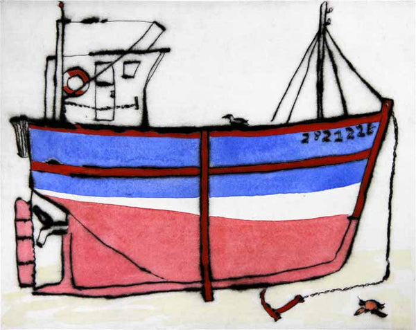 Awaiting the Tide - Limited Edition drypoint and watercolour fine art print by artist Richard Spare