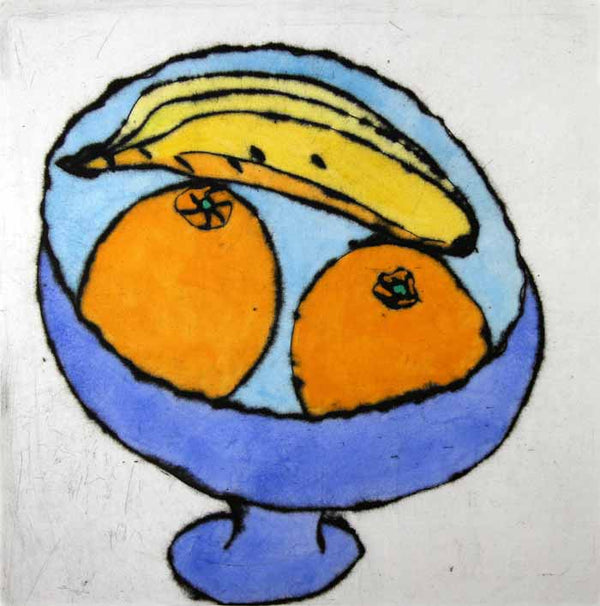 Banana and Oranges - Limited Edition drypoint and watercolour fine art print by artist Richard Spare