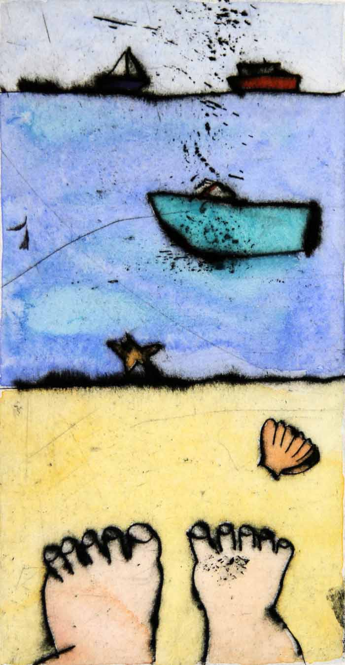 Beach Days - Limited Edition drypoint and watercolour fine art print by artist Richard Spare
