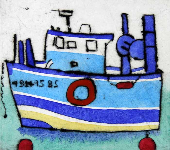 Blue Boat - Limited Edition drypoint and watercolour fine art print by artist Richard Spare