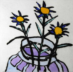 Blue Daisies - Limited Edition drypoint and watercolour fine art print by artist Richard Spare