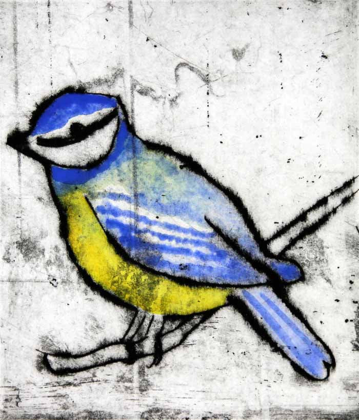 Blue Tit - Limited Edition drypoint and watercolour fine art print by artist Richard Spare