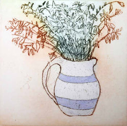 Blue and White Jug - Limited Edition softground etching fine art print by artist Richard Spare