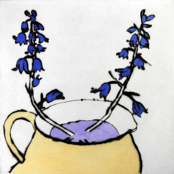 Bluebells - Limited Edition drypoint and watercolour fine art print by artist Richard Spare