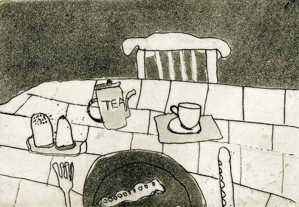 Breakfast for One - Limited Edition etching and aquatint fine art print by artist Richard Spare
