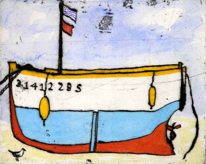 Breton Boat - Limited Edition drypoint and watercolour fine art print by artist Richard Spare