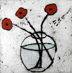 Bright Poppies - Limited Edition drypoint and watercolour fine art print by artist Richard Spare
