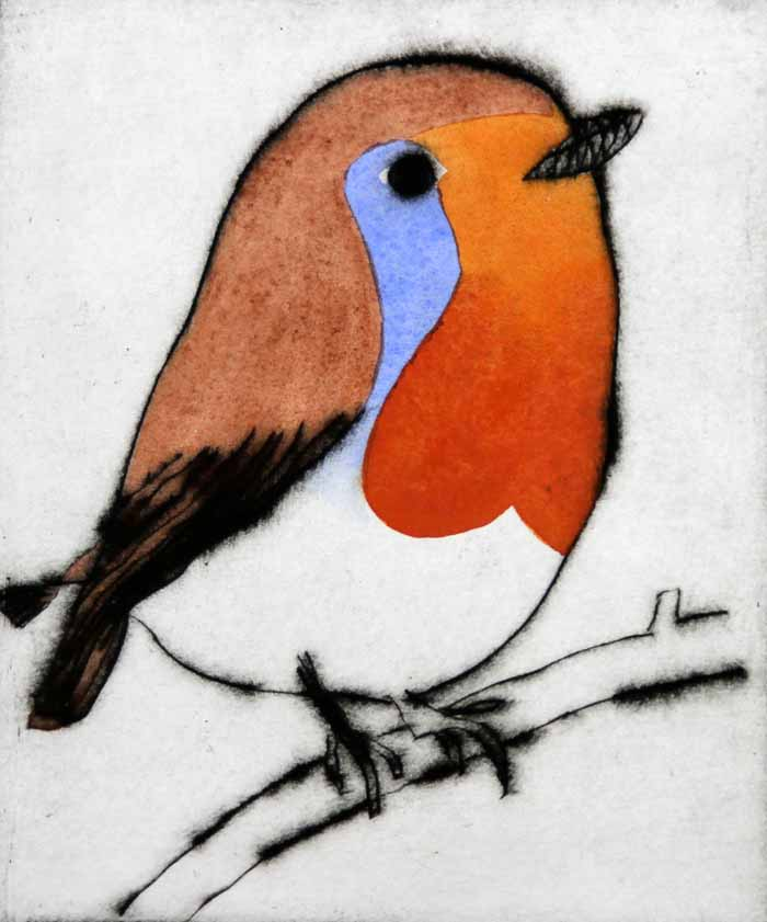 Bright Robin - Limited Edition drypoint and watercolour fine art print by artist Richard Spare
