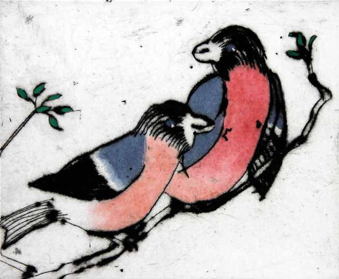 Bullfinches - Limited Edition drypoint and watercolour fine art print by artist Richard Spare