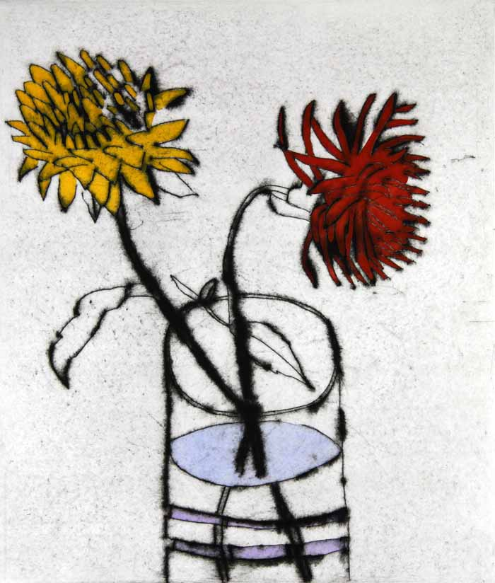 Cactus Dahlias - Limited Edition drypoint and watercolour fine art print by artist Richard Spare
