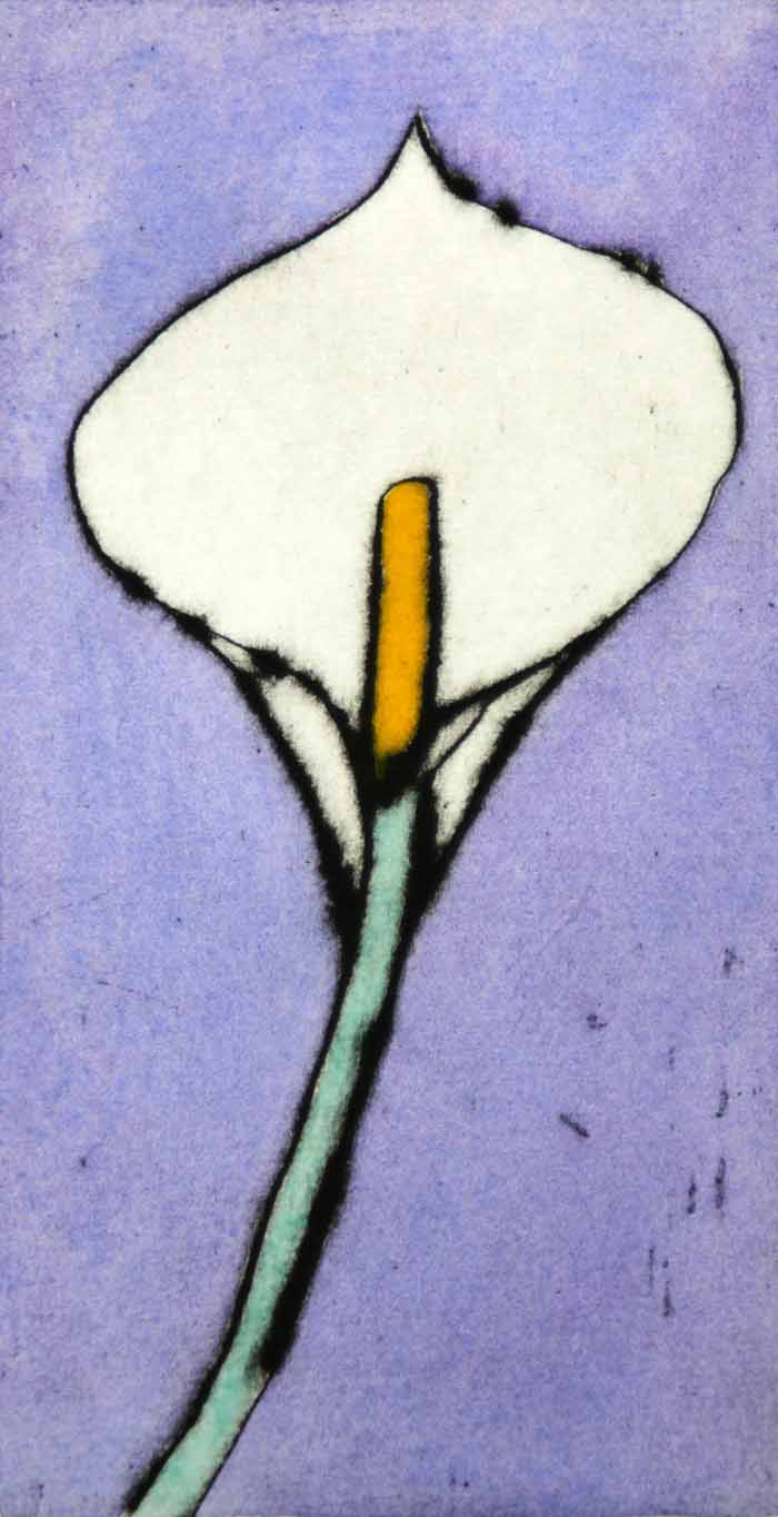 Calla II - Limited Edition drypoint and watercolour fine art print by artist Richard Spare