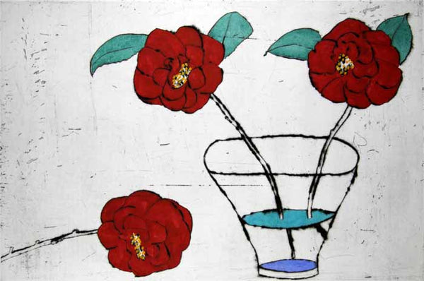 Camellias Awakening - Limited Edition drypoint and watercolour fine art print by artist Richard Spare