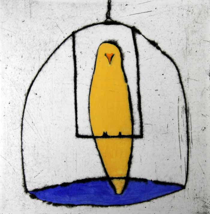 Canary - Limited Edition drypoint and watercolour fine art print by artist Richard Spare