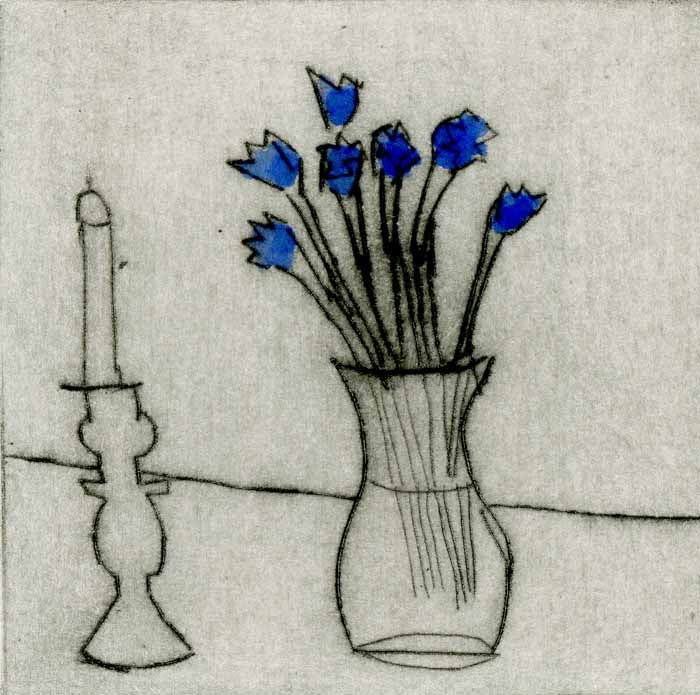 Candlestick + Flowers - Limited Edition drypoint and watercolour fine art print by artist Richard Spare