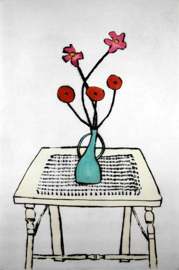 Cane Table - Limited Edition drypoint and watercolour fine art print by artist Richard Spare