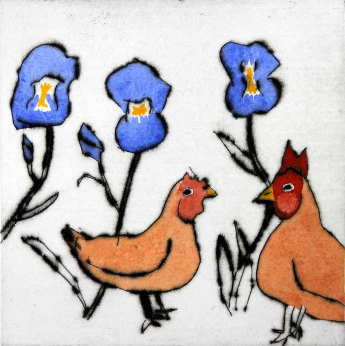 Chickens Among the Flowers - Limited Edition drypoint and watercolour fine art print by artist Richard Spare