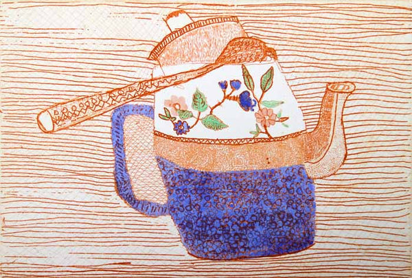 China Tea - Limited Edition etching and watercolour fine art print by artist Richard Spare