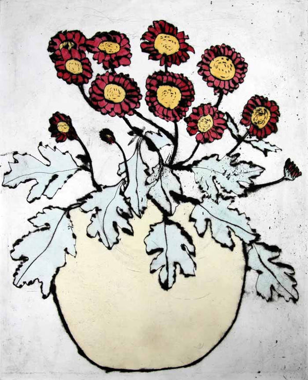 Chrysanthemums - Limited Edition drypoint and watercolour fine art print by artist Richard Spare