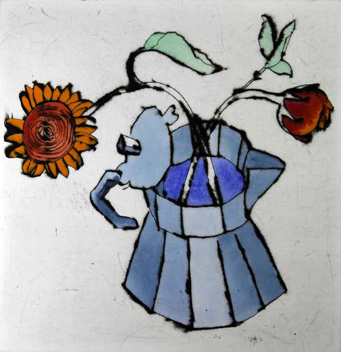 Coffee Pot - Limited Edition drypoint and watercolour fine art print by artist Richard Spare