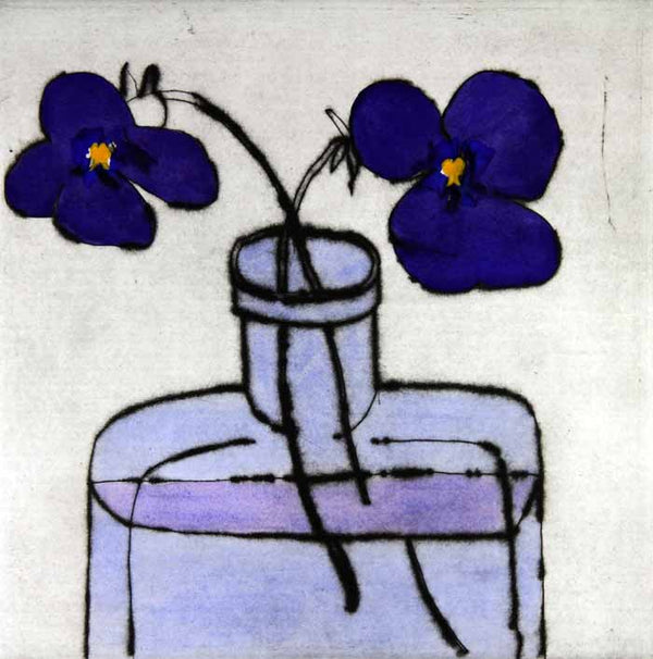 Cornish Violets - Limited Edition drypoint and watercolour fine art print by artist Richard Spare