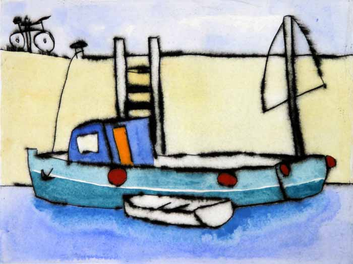 Cycle to the Quay - Limited Edition drypoint and watercolour fine art print by artist Richard Spare