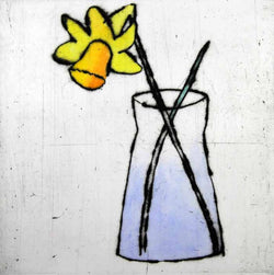 Daffodil - Limited Edition drypoint and watercolour fine art print by artist Richard Spare