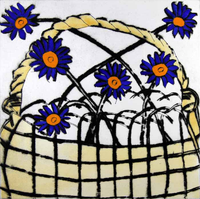 Daisy Basket - Limited Edition drypoint and watercolour fine art print by artist Richard Spare