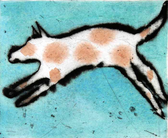 Dancing Dog - Limited Edition drypoint and watercolour fine art print by artist Richard Spare