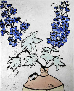 Delphiniums - Limited Edition drypoint and watercolour fine art print by artist Richard Spare