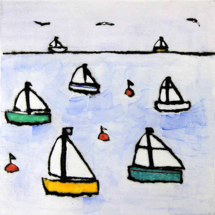 Dinghies - Limited Edition drypoint and watercolour fine art print by artist Richard Spare