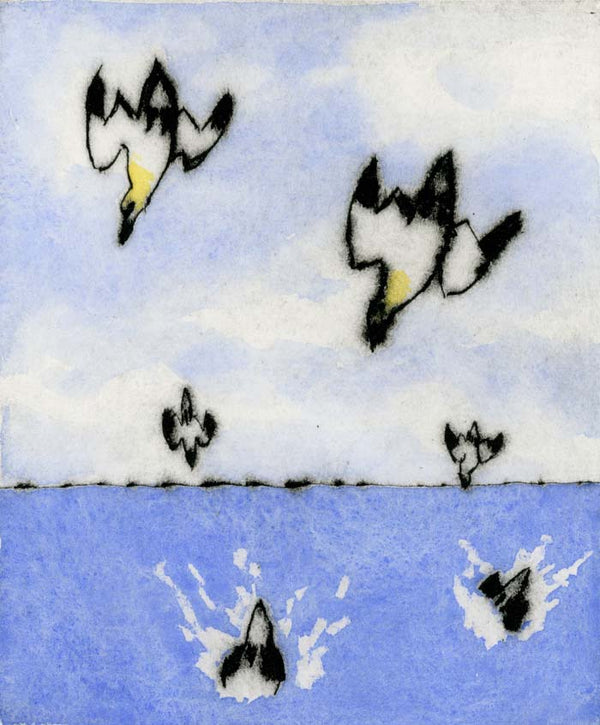 Diving Gannets - Limited Edition drypoint and watercolour fine art print by artist Richard Spare