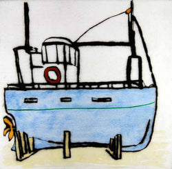 Dry Dock - Limited Edition drypoint and watercolour fine art print by artist Richard Spare